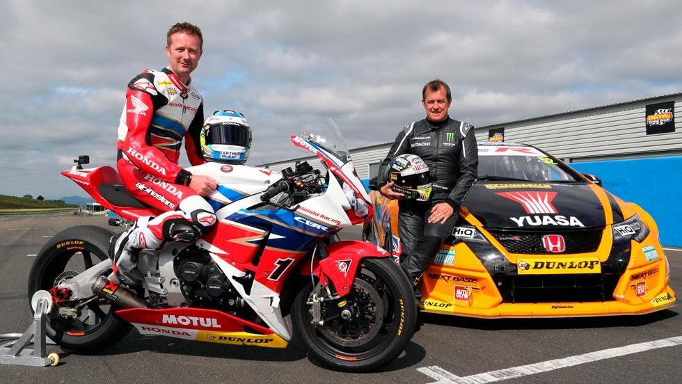 John McGuinness Gordon Shedden Honda Dunlop moto coche cambio swap