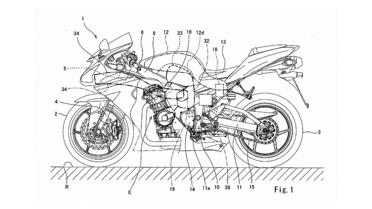 Kawasaki moto turbo sobrealimentación dibujo técnico ingeniería motor sobrealimentado