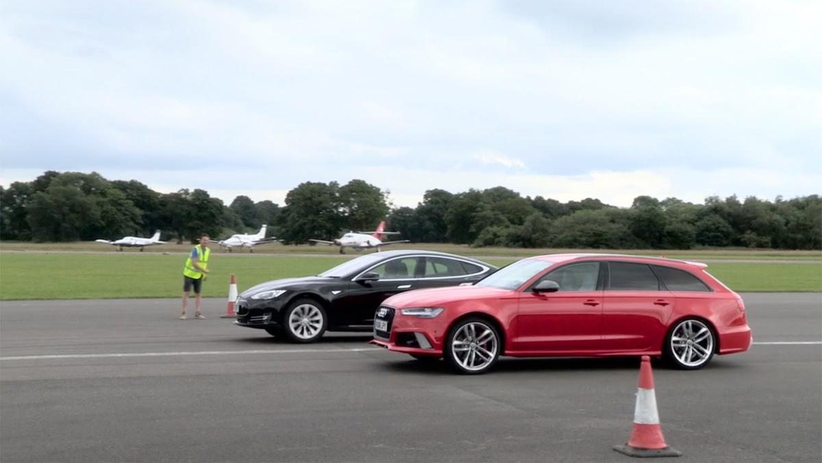 Drag race: Audi RS6 vs Tesla Model S P90D
