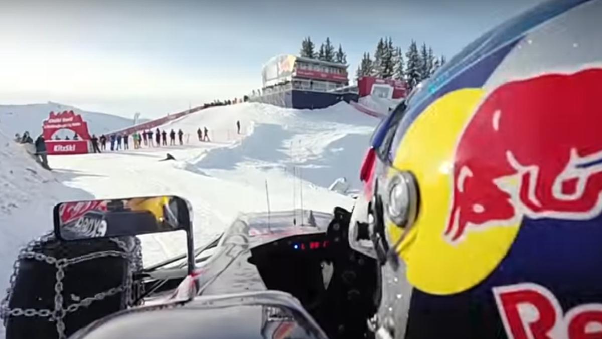 Esquiar con un fórmula 1 en la nieve