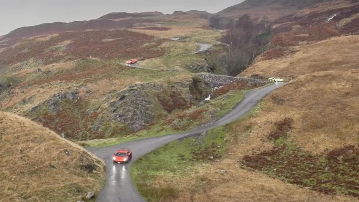 Lamborghini Aventador SV carretera cabras pinchazo lago curvas
