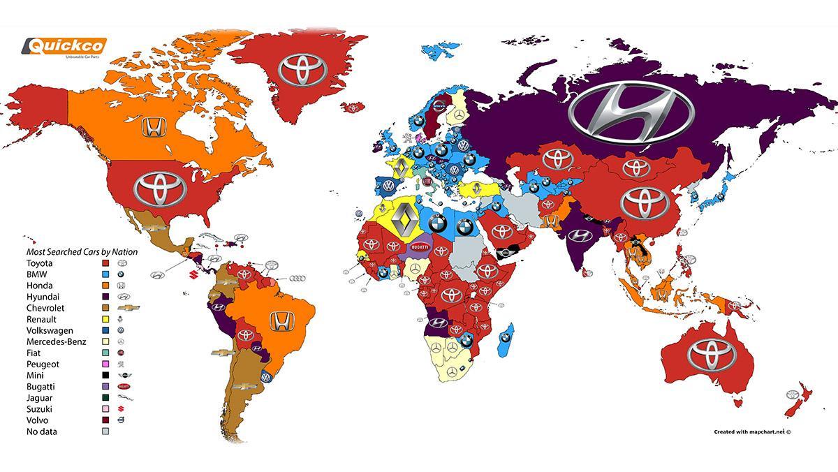 Las marcas de coches más buscadas en Google por países