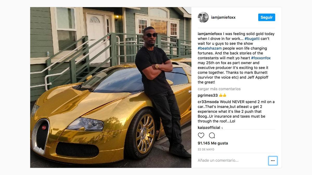Jamie Foxx Bugatti Veyron dorado deportivo vinilo