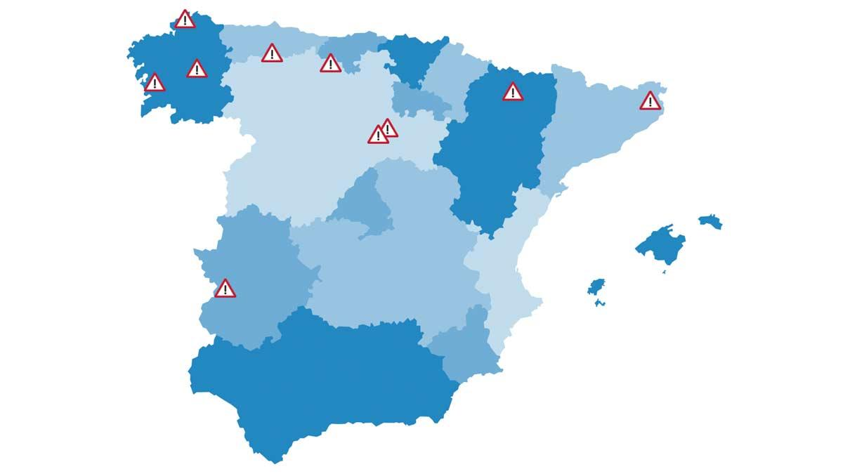 peligro mapa dgt carretera peligrosos accidentes