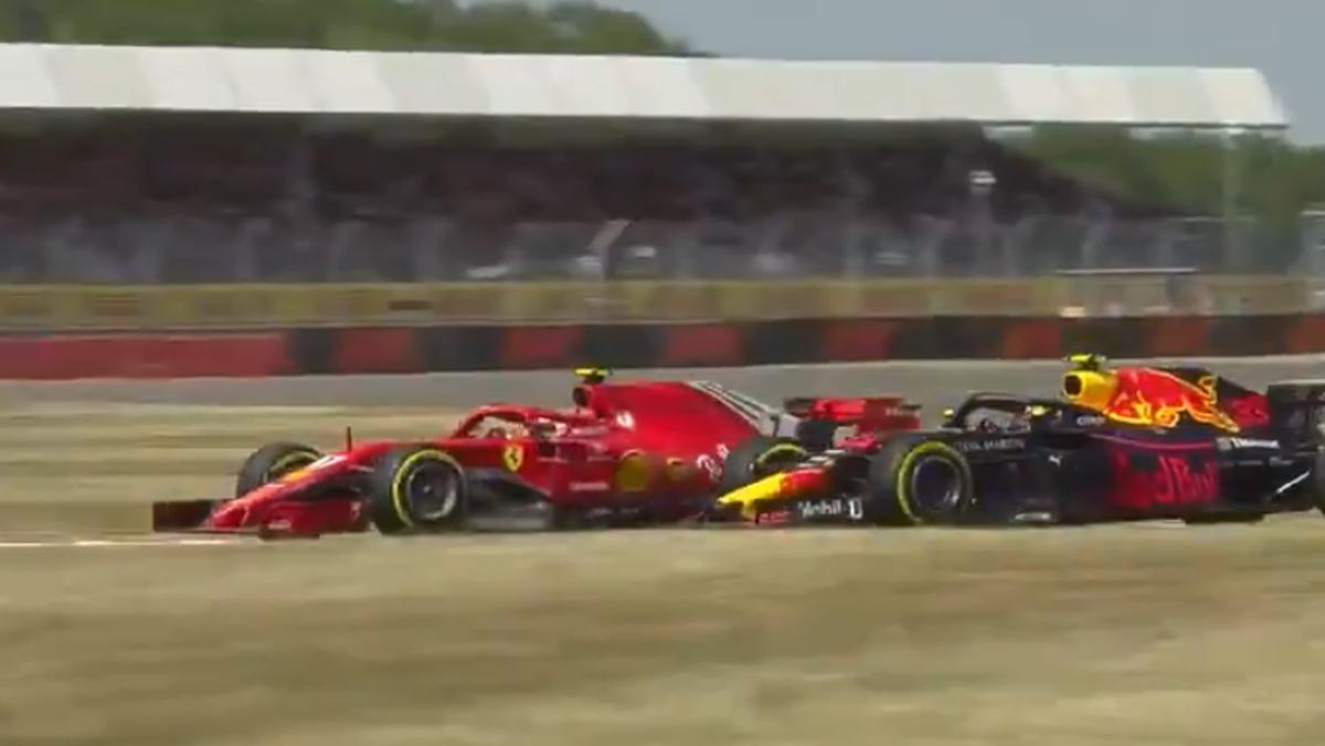adelantamiento de Max Verstappen a Kimi Raikkonen en el GP de Gran Bretaña de F1 2018