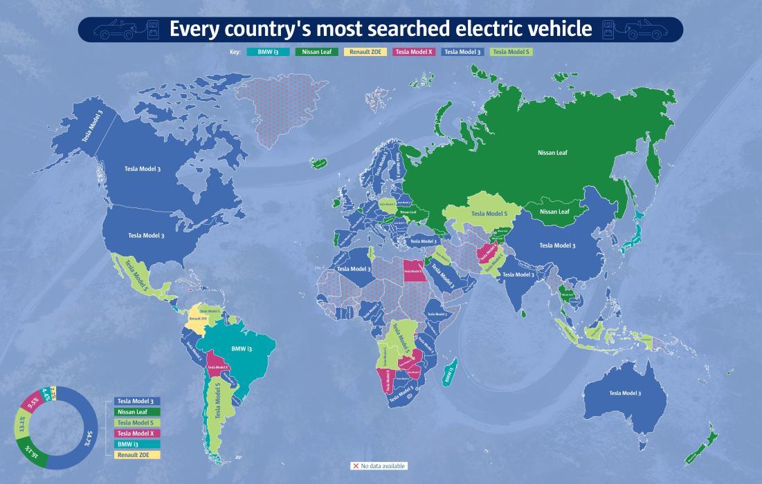 El coche eléctrico más deseado en cada país del mundo