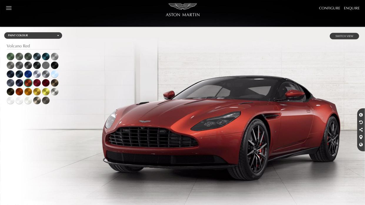 La pantalla principal del configurador del Aston Martin DB11