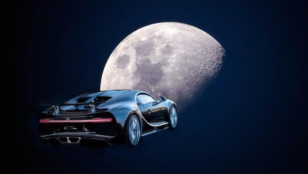 Bugatti Chiron a la luna deportivo lujo