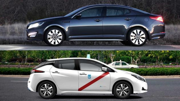 Kia Optima Nissan Leaf taxis madrid